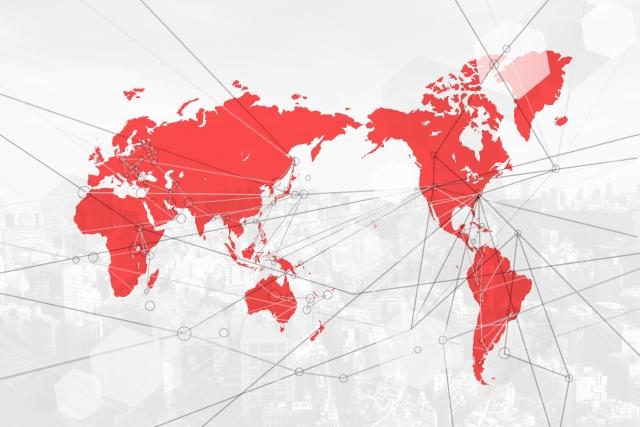 日本地図(赤)画像